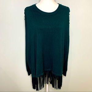 Kate & Mallory Green Fringe Sweater Size XL